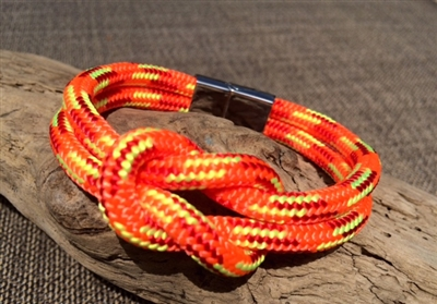 Mariner Orange Nautical Bracelet crafted with authentic marine line and stainless steel clasp available in sizes small through extra large.