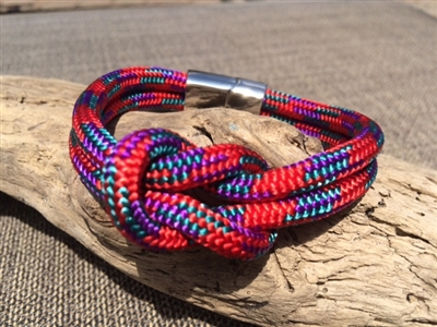 Mariner Red Nautical Bracelet crafted with authentic marine line and stainless steel clasp available in sizes small through extra large.