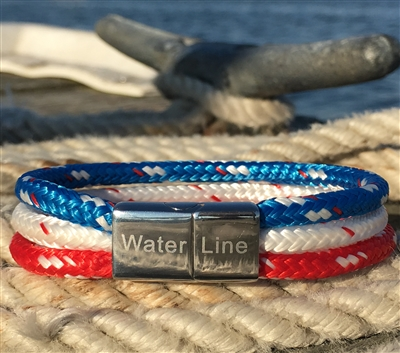The American provides simple yet bold style and demonstrates your love for the beautiful USA! With its stainless steel magnetic clasp and triple line design, it is both comfortable and secure.