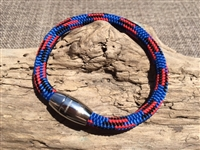 Windswept Blue Nautical Rope Bracelet handcrafted in the USA with a stainless steel clasp available in sizes small, medium, large, and extra large.