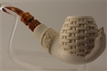 Special Hand Carved Basket In Hand Meerschaum Pipe