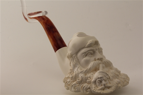 Deluxe Hand Carved Old Man Smoking a Meerschaum Pipe of Himself & Deluxe Hand Carved Old Man Smoking a Meerschaum Pipe of Himself ...