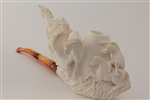Special Hand Carved Pegasus & Horses Meerschaum Pipe