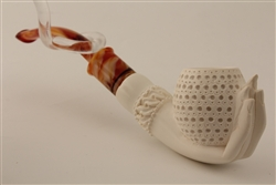 Deluxe Hand Carved Lady's Hand Meerschaum Pipe