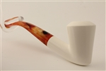 Deluxe Hand Carved Free Hand Smooth Meerschaum Pipe