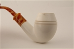 Deluxe Hand Carved Bulldog Smooth Bent Meerschaum Pipe