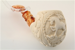 Special Hand Carved Unicorn Medallion Meerschaum Pipe
