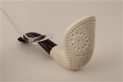 Deluxe Hand Carved Designers Lattice Cobra Meerschaum Pipe