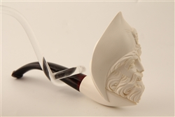 Deluxe Hand Carved Pirate Meerschaum Pipe