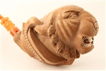 Special Hand Carved Giant Tiger in Claw By Master Carver I. Baglan Meerschaum Pipe
