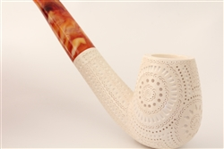 Deluxe Hand Carved Designers Lattice Meerschaum Pipe