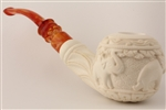 Hand Carved Elephants Relief Meerschaum Pipe