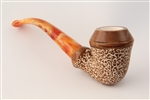 Hand Carved Bulldog Rusticated Meerschaum Pipe