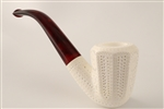Deluxe Hand Carved Designers Lattice Octagon Meerschaum Pipe