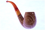Deluxe Hand Carved Designers Lattice Dark Finish Meerschaum Pipe