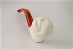 Deluxe Hand Carved Bulldog Face Meerschaum Pipe