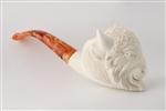 Hand Carved Buffalo Block Meerschaum Pipe