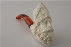 Hand Carved Zeus Block Meerschaum Pipe