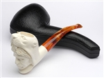 Hand Carved Indian with Panther Hood Meerschaum Pipe