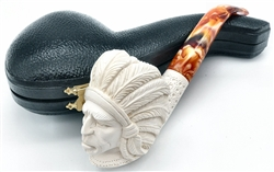 Deluxe Hand Carved Indian with Lattice Shank Meerschaum Pipe