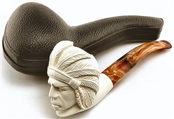 Deluxe Hand Carved Indian Meerschaum Pipe