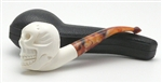 Hand Carved Skull Meerschaum Pipe