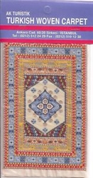Miniature Turkish Woven Pipe Carpet - Yellow Blue Ivory