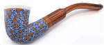 Hand Carved Blue and Orange Fimo Block Meerschaum Pipes