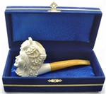 Special African Queen Meerschaum Pipe in Blue Chest
