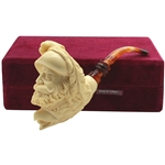 Master Carver I. Baglan Double Head Block Meerschaum Pipe