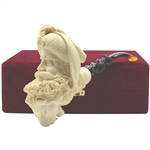 Master Carver I. Baglan Double Head Sultan on Lion Block Meerschaum Pipe