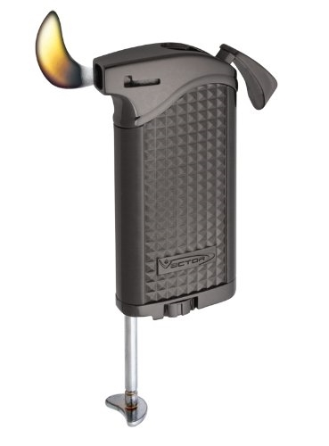 Vector KGM Maximus Butane Pipe Lighter with Tamper - Gunmetal Satin