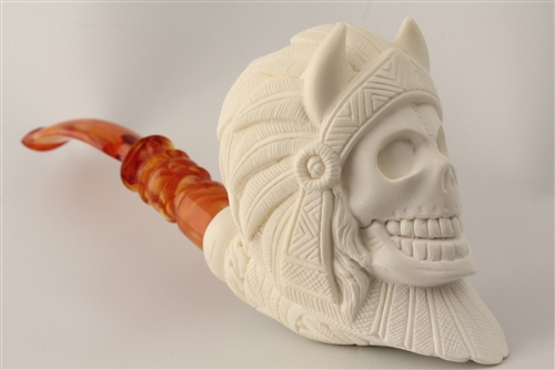 Special Hand Carved Indian Skull By Master Carver I Baglan Meerschaum Pipe Buy Meerschaum Pipes On Sale Tobacco Pipes On Sale
