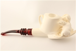 Special Hand Carved Raccoons by Master Carver R. Karaca Meerschaum Pipe