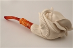 Special Hand Carved Rose in Claw by Master Carver I. Baglan Meerschaum Pipe