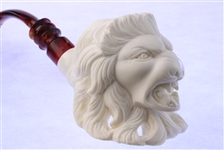 Special Hand Carved Lion by Master Carver I. Baglan Meerschaum Pipe