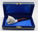Mini Hand Carved Horse Meerschaum Pipes with Velvet Chest