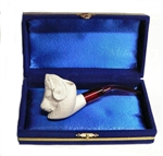 Mini Hand Carved Ram Animal Meerschaum Pipes with Velvet Chest