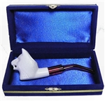 Mini Hand Carved Wolf Animal Meerschaum Pipes with Velvet Chest