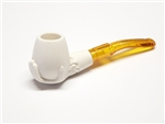 Mini Hand Carved Hand Holding Bowl Meerschaum Pipes