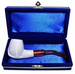 Mini Hand Carved Hand Holding Bowl Meerschaum Pipes with Velvet Chest