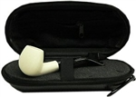 Mini Hand Carved Smooth Meerschaum Pipe & Hard Case
