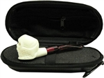 Mini Hand Carved Skull Meerschaum Pipe & Hard Case