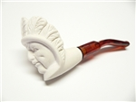 Mini Hand Carved Indian Chief Head Meerschaum Pipes