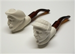 Mini Hand Carved Holmes & Watson Meerschaum Pipe Set