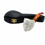 Double Head Tiger Indian Block Meerschaum Pipe