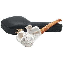 Ram on Lattice Bowl Block Meerschaum Pipe