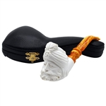 Turban Man with Designer Stem Block Meerschaum Pipe