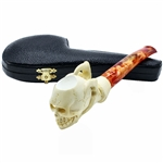 Skull in Backwards Claw Signed Block Meerschaum Pipe