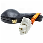 Eagle Skull Double Head Block Meerschaum Pipe